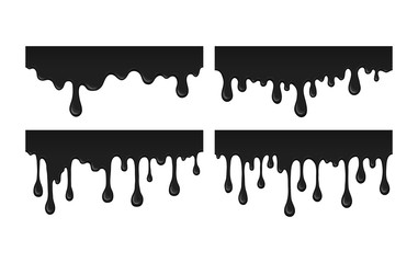 Oil leak. Illustration splash drops of ink blob. Flow black paint - abstract vector desin isolated element. Droplets of black liquid on white background.