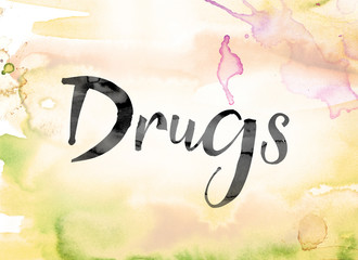 Drugs Colorful Watercolor and Ink Word Art
