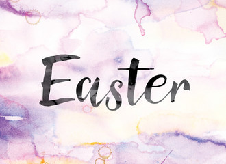 Easter Colorful Watercolor and Ink Word Art
