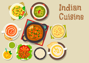 Indian cuisine icon of popular dishes with dessert