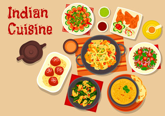 Indian cuisine vegetarian dinner dishes icon
