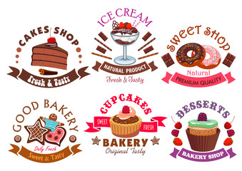 Pastry shop and cafe signs with cake and dessert