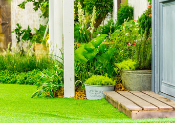 Relaxing area in cozy home./ Beauty and relaxing garden with flower pot in cozy home on summer.