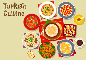 Turkish cuisine dishes for festive dinner icon