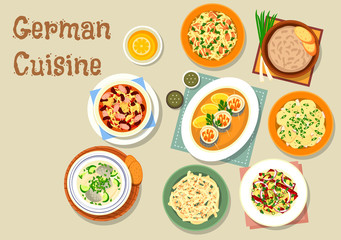 German cuisine icon with bavarian dishes