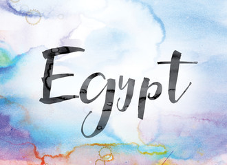 Egypt Colorful Watercolor and Ink Word Art