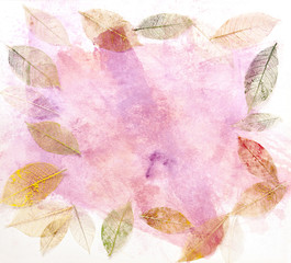 Frame with skeleton leaves on abstract pink texture