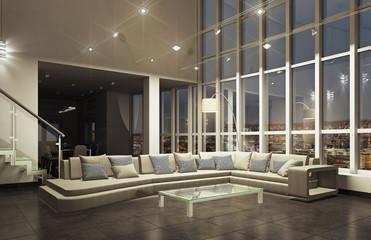 Современный интерьер гостиной в пентхаусе ночной вид 3d rendering