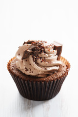 chocolate cupcake with chocolate butter cream swirl