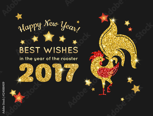 happy new year 2017 greeting card with golden glittering rooster and stars on black background vector