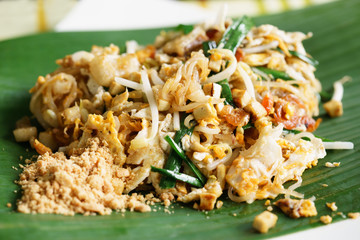 Thai style noodle, Asian rice noodles with egg and vegetables
