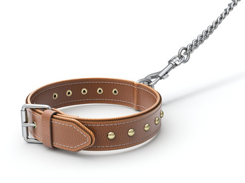 Leather dog collar with trigger hook and chain