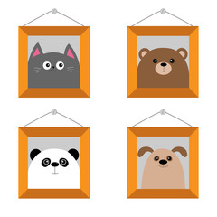 Dog, bear, cat, panda head. Picture frame hanging on the wall. Cute cartoon character set. Pet forest wildlife animal baby collection. Isolated. White background. Flat design.