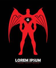 red guardian. winged superhero. red angel.