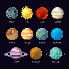 Planets of solar system vector cartoon set on dark sky space background