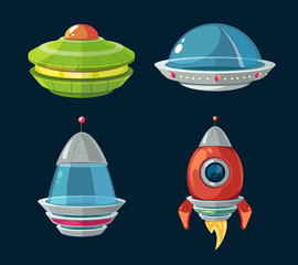 Spaceship and spacecrafts cartoon set for space computer or smartphone game