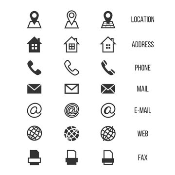 Business card vector icons, home, phone, address, telephone, fax, web, location symbols