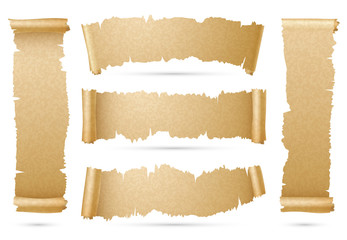 Vertical and horizontal old paper scroll ribbon banners vector set