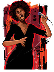 In de dag Art Studio afro american jazz singer on grunge background