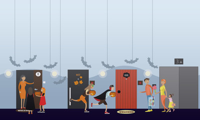 Kids playing trick or treat. Happy halloween holiday party concept banner. Vector illustration in flat style design