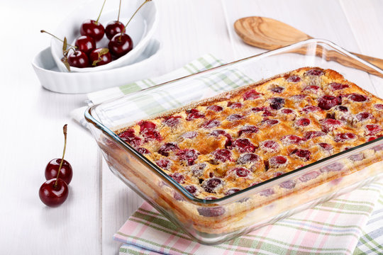 Cherry clafoutis - traditional French sweet fruit dessert
