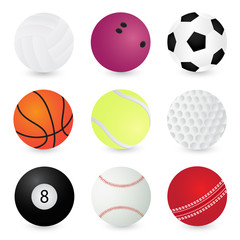 Sport Balls volleyball, bowling, soccer, basketball, tennis, golf, pool, baseball, cricket