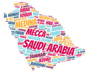 Saudi Arabia top travel destinations word cloud