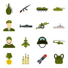 Military icons set. Flat illustration of 16 military vector icons for web