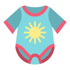 Baby bodysuit icon. Flat illustration of baby bodysuit vector icon for web design