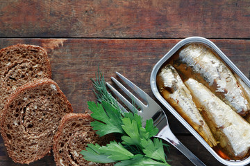 Canned Fish On Wood