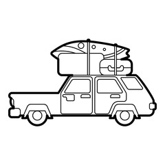 Car with luggage on roof icon. Outline illustration of car with luggage on roof vector icon for web design