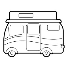 Travelling camper icon. Outline illustration of travelling camper vector icon for web design