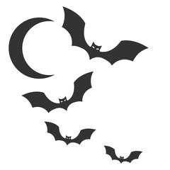 Bat and moon icon vector