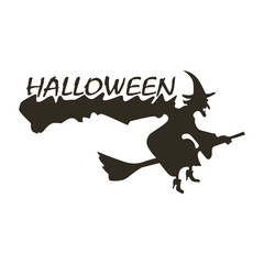 Flying witch, Hallowen icon vector