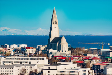 panoramic view of reykjavik with cathedral at wintertime, iceland