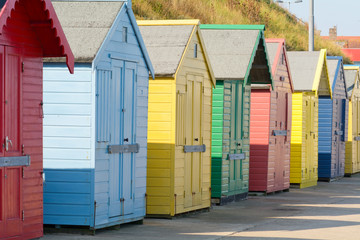 The colourful beach huts in Sheringham, Norfolk, England