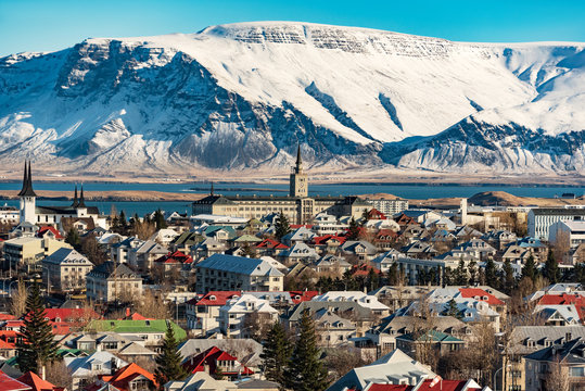 panoramic view of reykjavik at wintertime, iceland