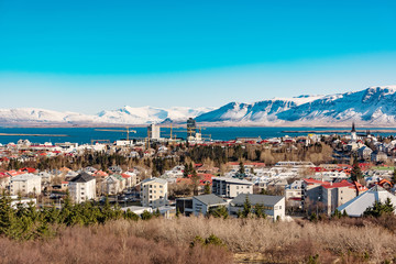 panoramic view of reykjavik at wintertime, iceland