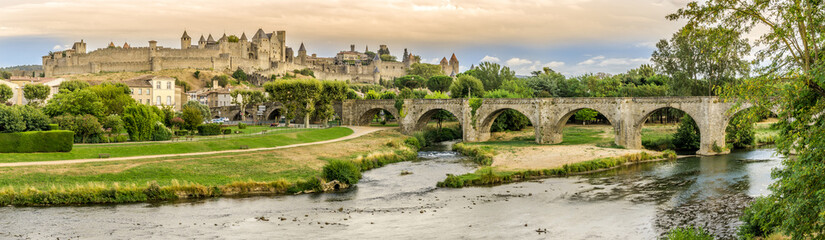 Panoramic view at the Old City of Carcassonne with Old Bridge over L Aude river - France