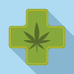 Medical marijuana icon. Flat illustration of medical marijuana vector icon for web