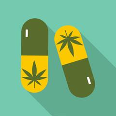 Pills marijuana icon. Flat illustration of pills marijuana vector icon for web
