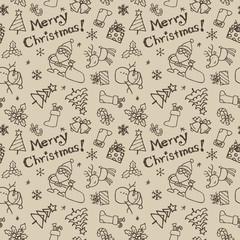 クリスマス模様 サンタクロース、トナカイ、