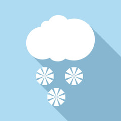 Snow with cloud icon. Flat illustration of snow with cloud vector icon for web