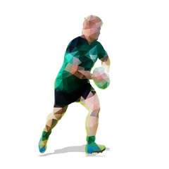 Running rugby player, abstract vector geometric illustration. Ba