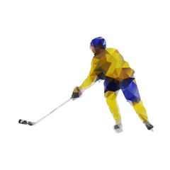 Ice hockey player, active man in yellow jersey. Abstract polygon