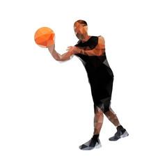 Polygonal basketball player, abstract vector silhouette