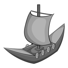 Wooden ship icon. Gray monochrome illustration of wooden ship vector icon for web