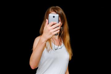 Young girl use smartphone.