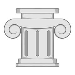Roman column icon. Gray monochrome illustration of roman column vector icon for web