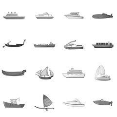 Ship and boat icons set. Gray monochrome illustration of 16 ship and boat vector icons for web